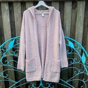 Cynthia Rowley Popcorn knit Hooded Cardigan L